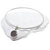 Brushed Bangle Bracelet with 10mm Dome Cremation Charm in Sterling Silver