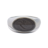 Simple Brushed Band Oval Cremation Ring in Sterling Silver