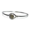 Hook and Eye Bangle Cremation Bracelet with 10mm Circle Charm in Sterling Silver