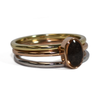 Oval Stacking Cremation Ring in 14K Rose Gold with Two Companion Rings, one in 14K Yellow Gold and one in 14K White Gold