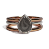 Pear Stacking Cremation Ring in Sterling Silver with Two Companion rings in 14k Rose Gold