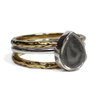Pear Stacking Cremation Ring in Sterling Silver with two companion rings in 14k Yellow Gold