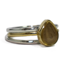 Pear Stacking Cremation Ring in 14K Yellow Gold with Two Companion Rings in Sterling Silver