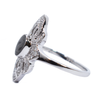 WWII Cremation Ring in 14K White Gold with White Diamonds