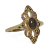 WWII Cremation Ring in 14K Yellow Gold with Champagne Diamonds