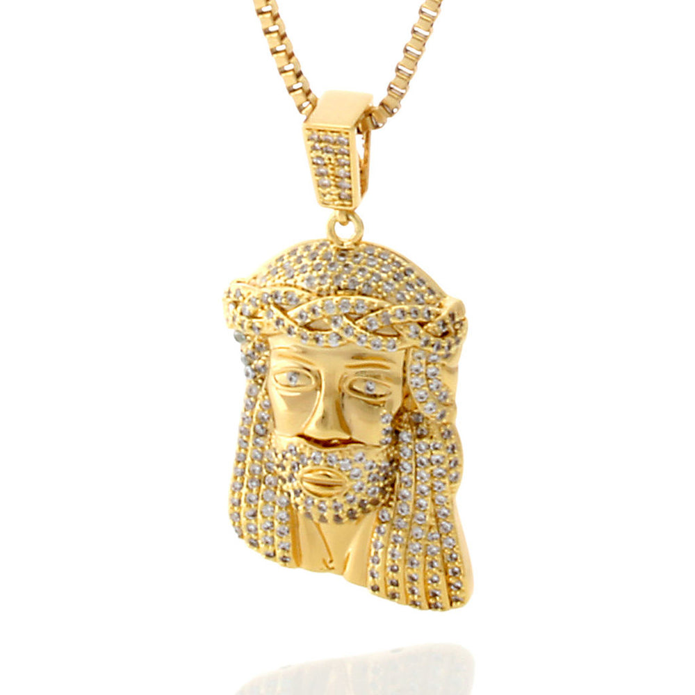 King Ice 14k Gold CZ Jesus Piece Necklace