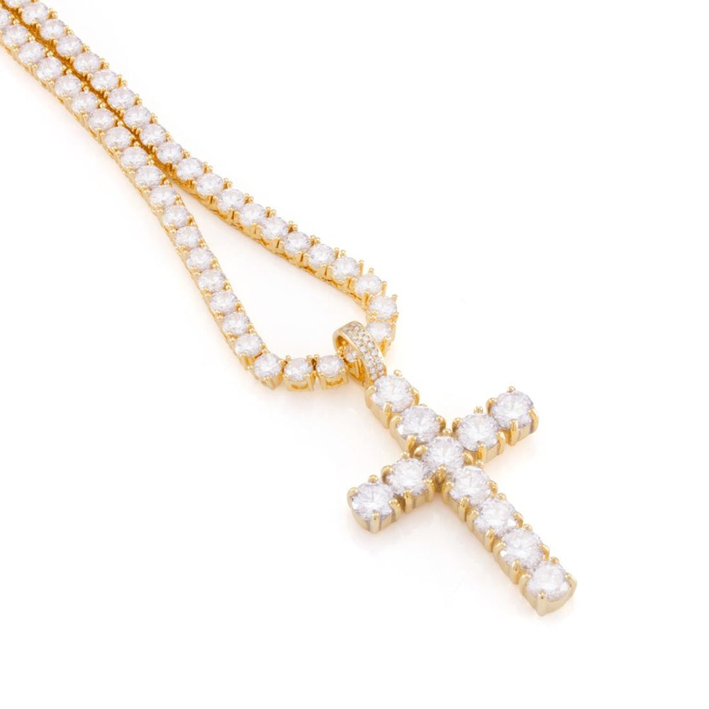 King Ice 14K Gold Tennis Cross Set