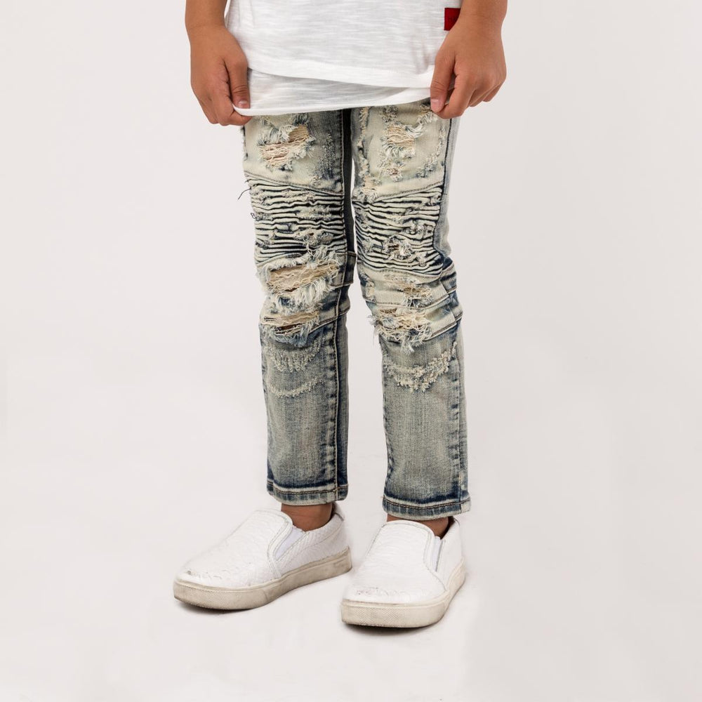 Haus of Jr Clayton Biker Denim (Distressed Tint Wash)