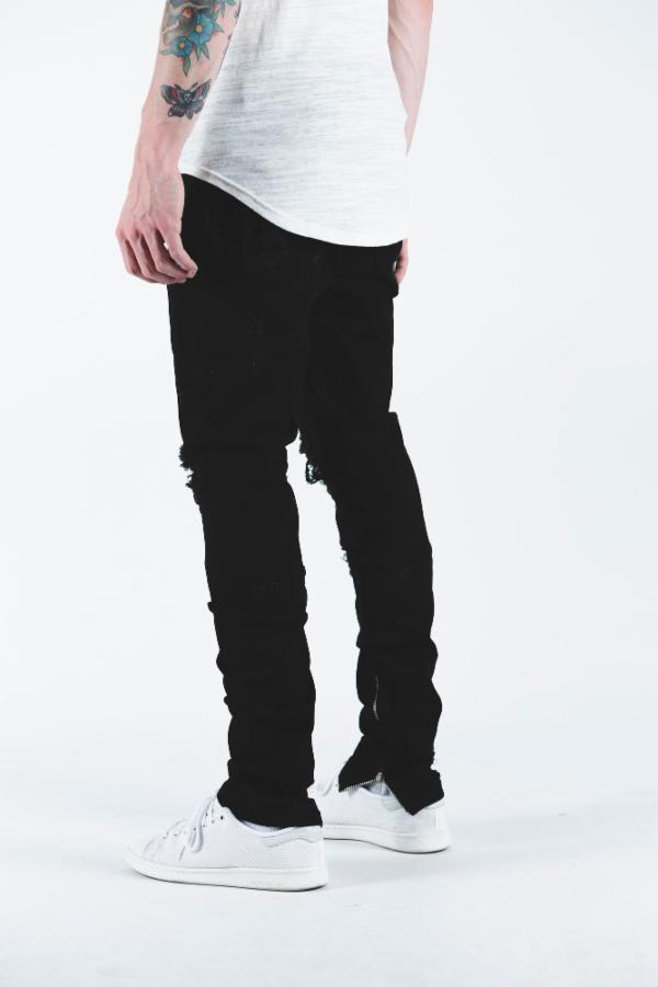 Crysp Pacific Ripped Denim (Black)