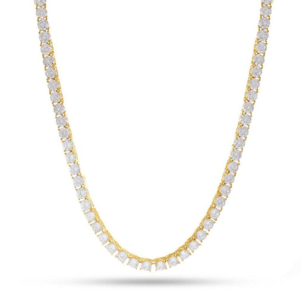 "King Ice 4mm 30"" 14K Gold Single Row Tennis Chain"