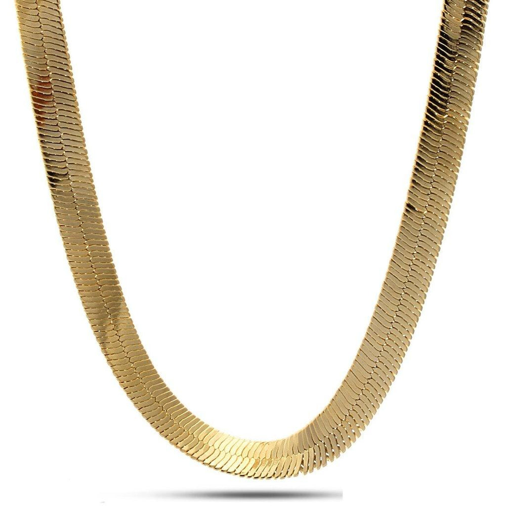 "King Ice 10mm 18"" Thin 14K Gold Herringbone Chain"