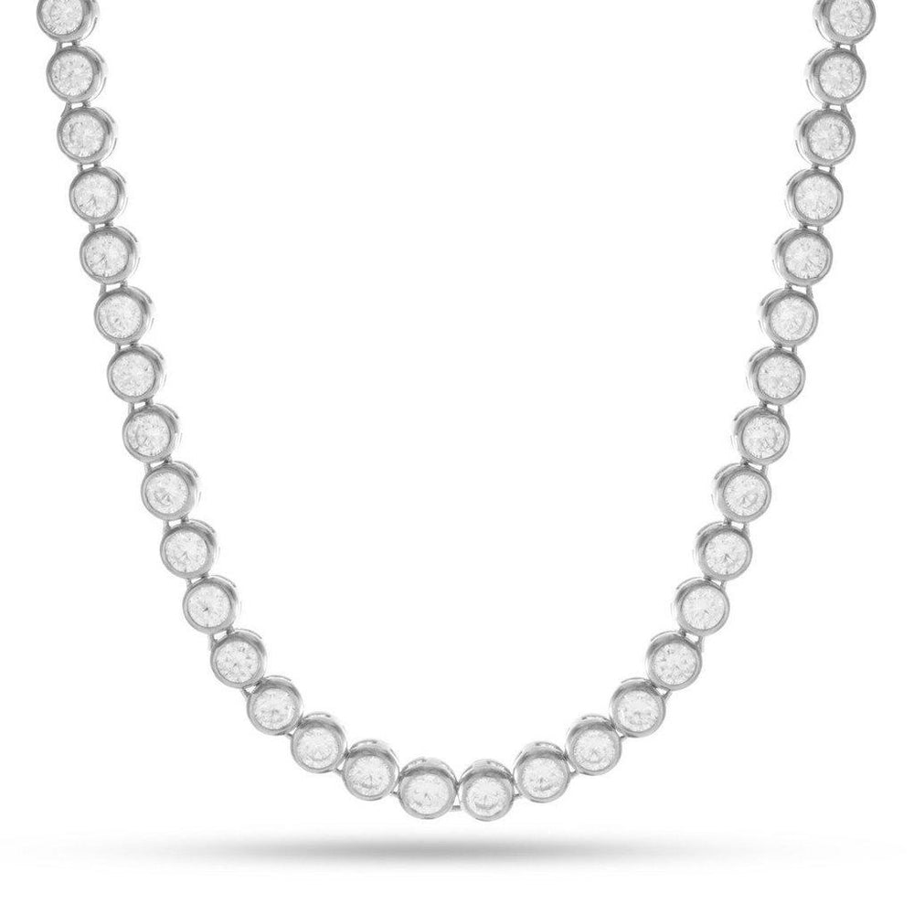 King Ice 14K Silver Bezel Necklace
