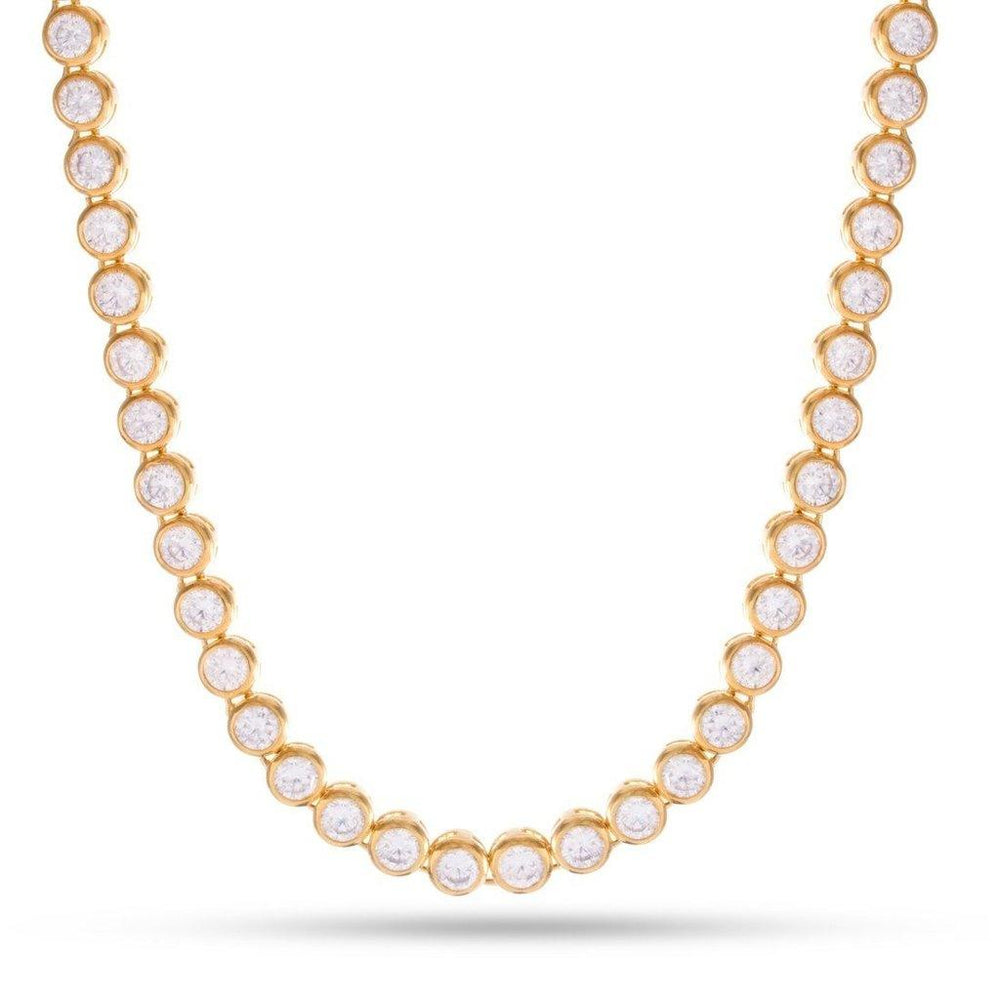 King Ice 14K Gold Bezel Necklace