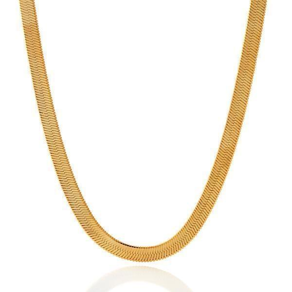 "King Ice 5mm 26"" Thin 14K Gold Herringbone Chain"