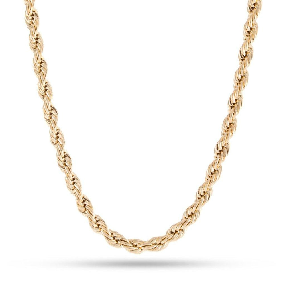 King Ice 6mm 14K Gold Stainless Steel Rope Chain