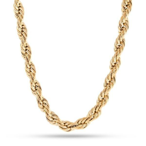 "King Ice 8mm 26"" 14k Gold Stainless Steel Rope Chain"