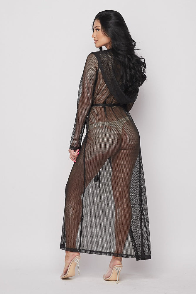 Hot & Delicious Fishnet Hooded Duster (Black)