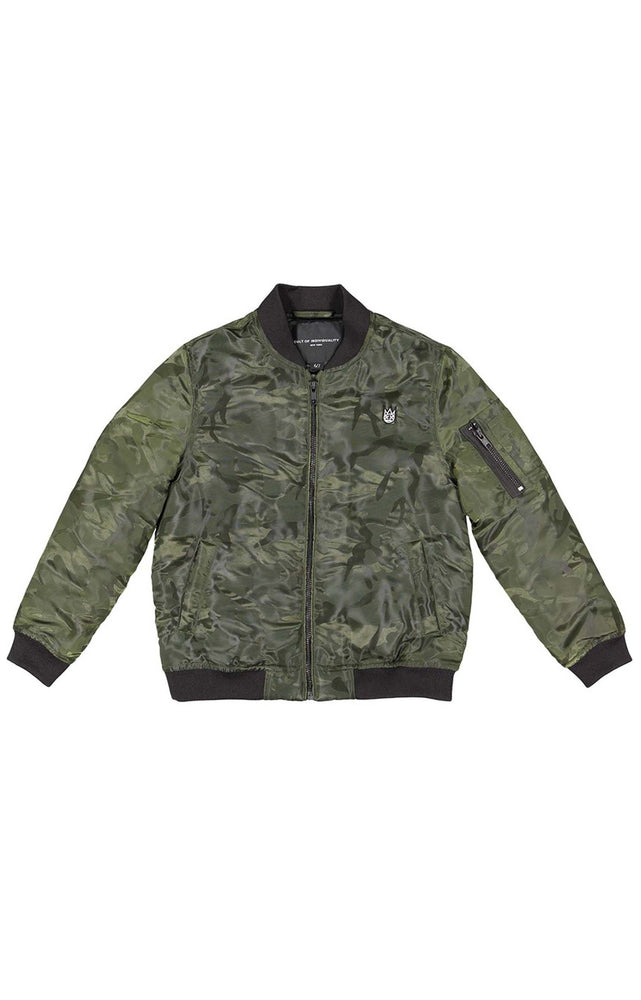 Cult of Individuality Kids Nylon Bomber Jacket (Army)