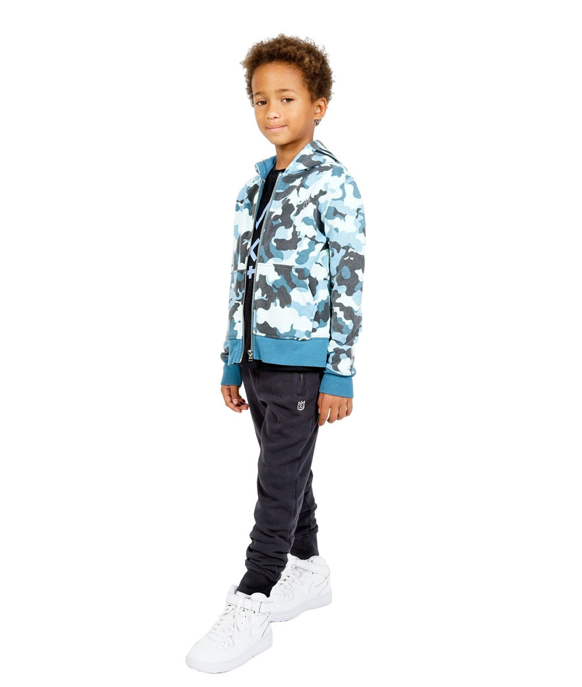 Cult of Individuality Kids Camo Full Zip Hoody (Navy)