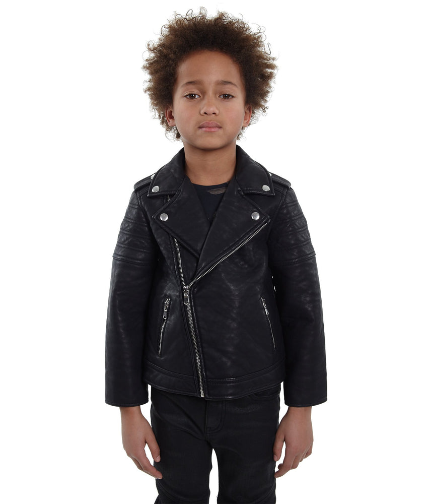 Cult of Individuality Kids Leather Moto Jacket (Black)