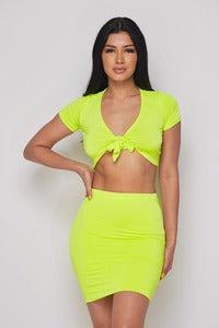 Hot & Delicious Tie Crop Skirt Set (Color Options)