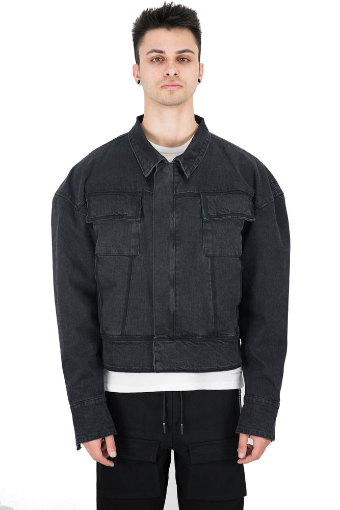 Molowo Washed Selvedge Denim Jacket (Black)