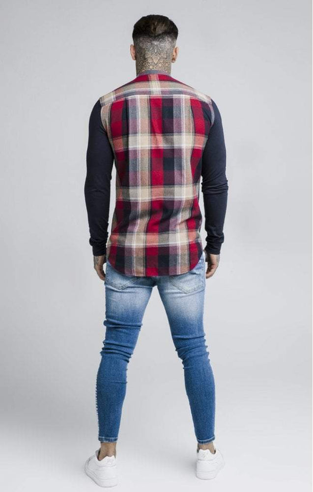 Sik Silk  L/S Flannel Grandad Shirt - Navy & Red