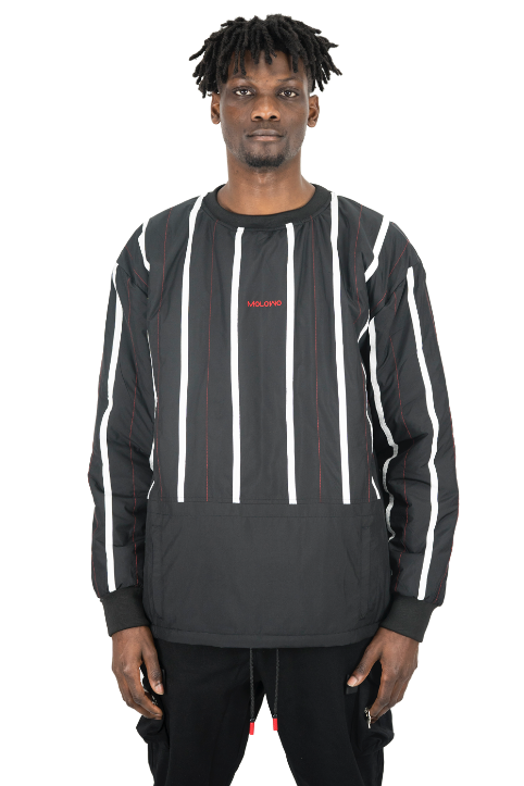 Molowo Reversible Striped Bubble Crew (Black)