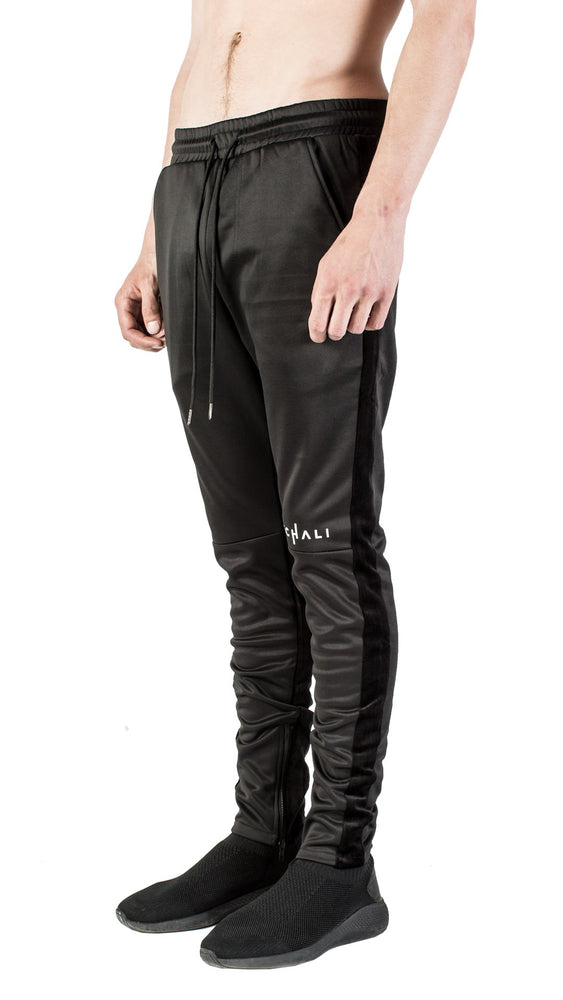 Mechali Velour Stripe Trackpants (Black)
