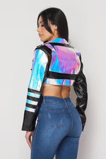 Hot & Delicious Faux Leather Hologram Jacket (Black)