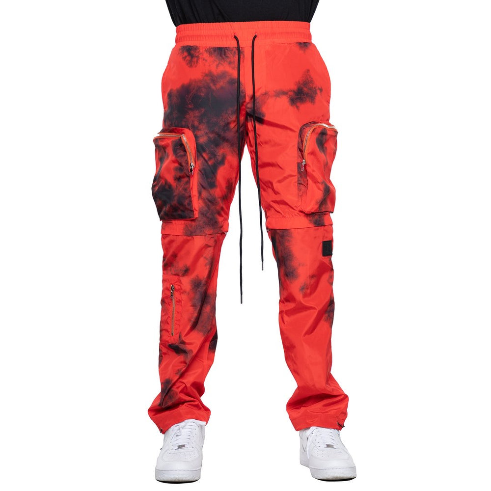 EPTM Tie-Dyed Nylon Cargo Pants (Red)
