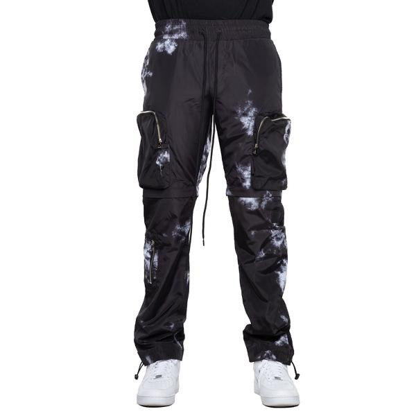 EPTM Tie-Dyed Nylon Cargo Pants (Black)