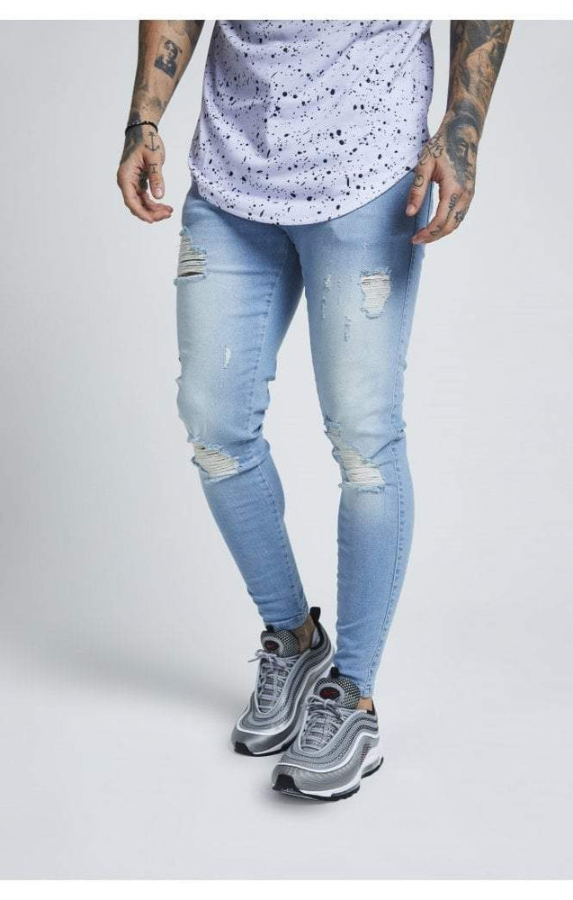 Sik Silk Skinny Distressed Denim – Light Blue