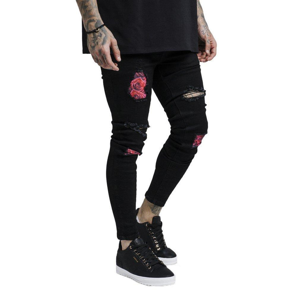 Sik Silk Bust Knee Rose Denim - Black & Red Rose