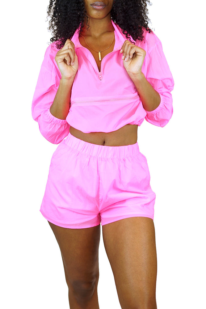 Tic Toc Wind Breaker Short Set (Neon Pink)