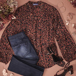 Leopard Print Blouson Long Sleeve Stand Collar with Studs Rayon High Low Woven Top