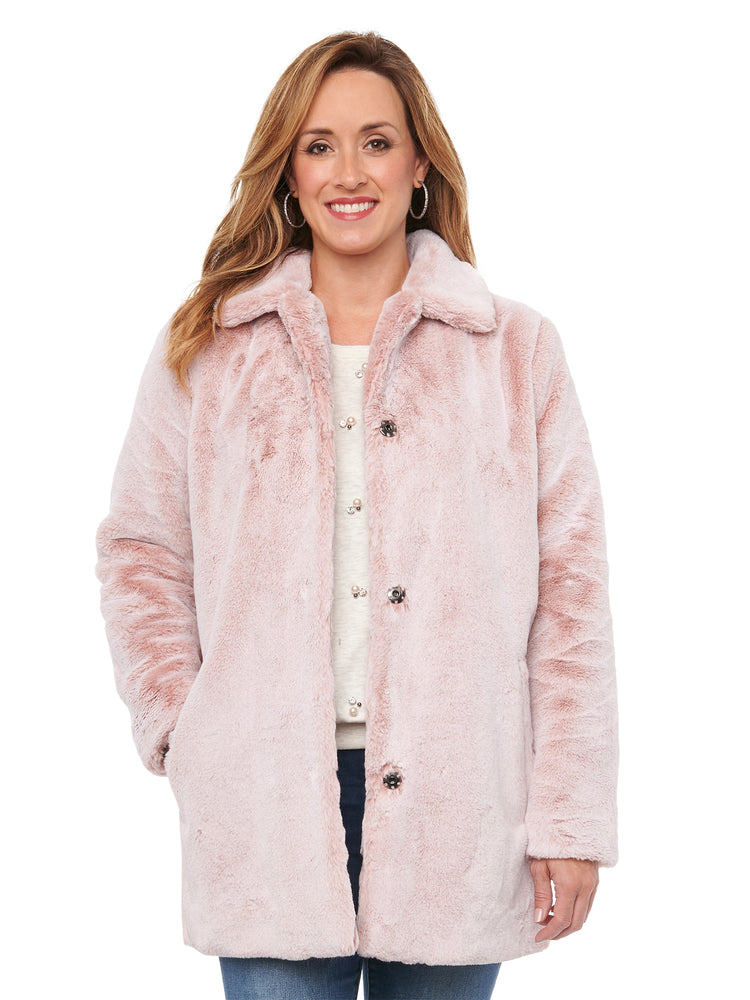 Frosted Faux Fur Mid-Length Coat