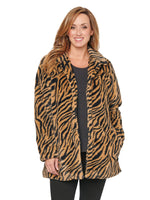 Long Sleeve Tiger Faux Fur Coat