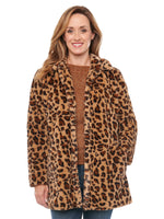 Leopard Animal Print Faux Fur Coat