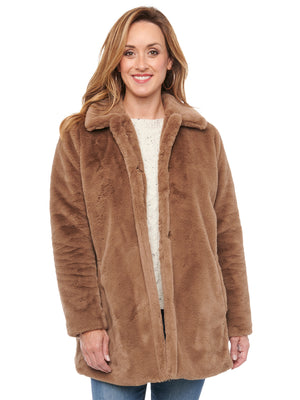Faux Fur Wheat Beige Tan Long Coat Jacket