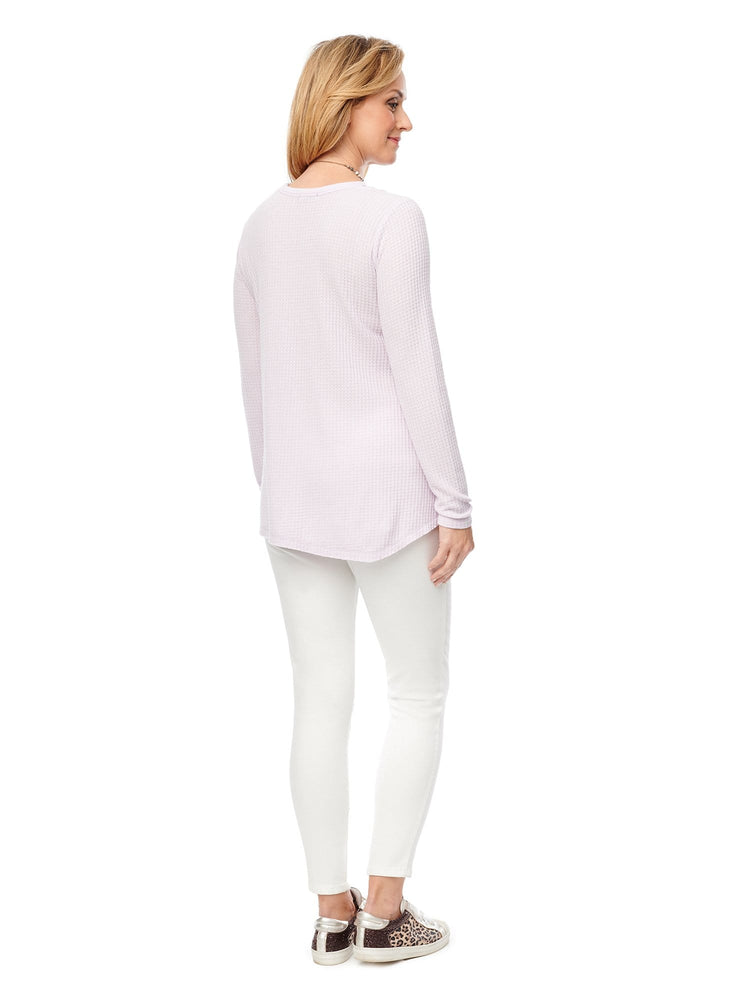 L/S V Neck, Shoulder Slits, Asymmetrical Hem Top