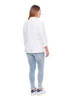White Denim Flounce Jacket