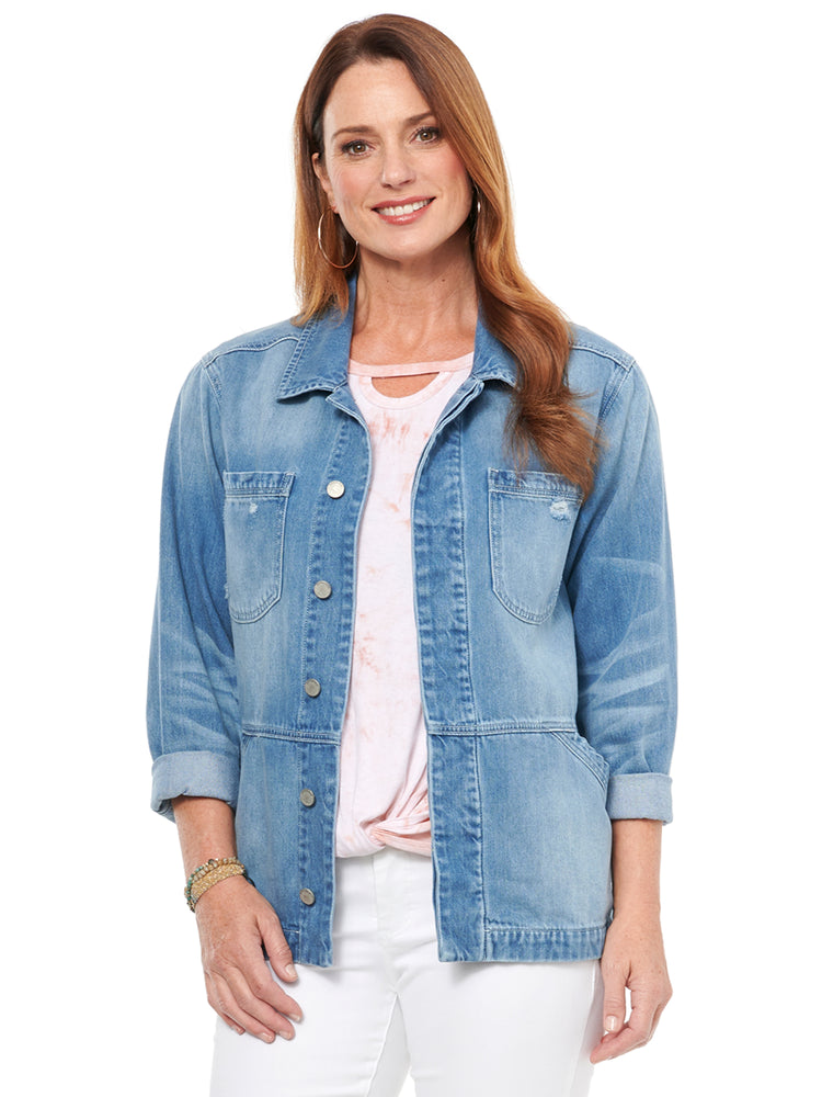 Load image into Gallery viewer, Drop Shoulder Flounce Denim Jacket