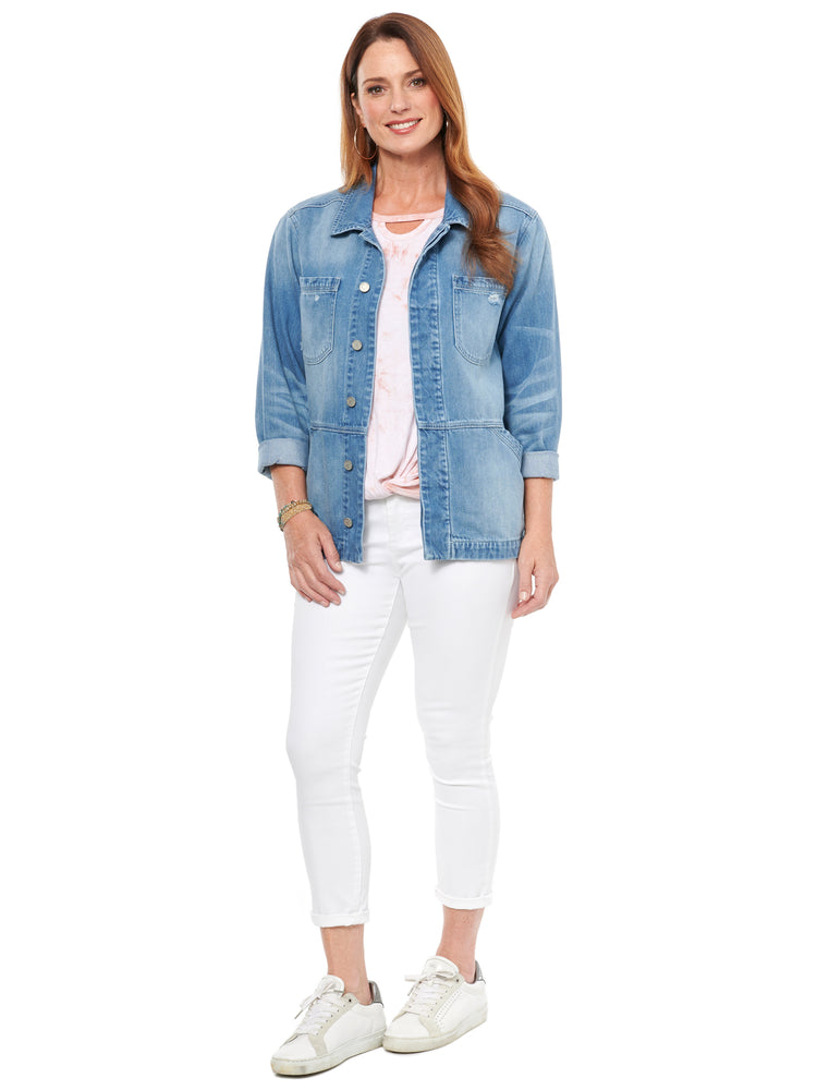 Drop Shoulder Flounce Denim Jacket
