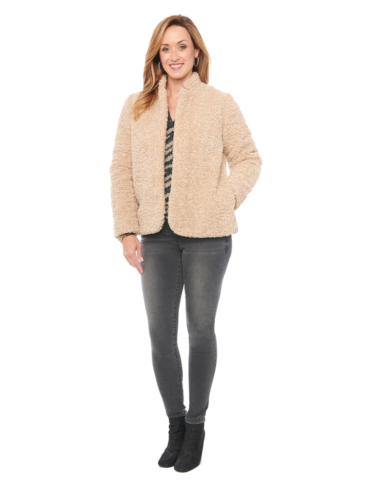 Faux Shearling Fur Stand Up Collar Jacket