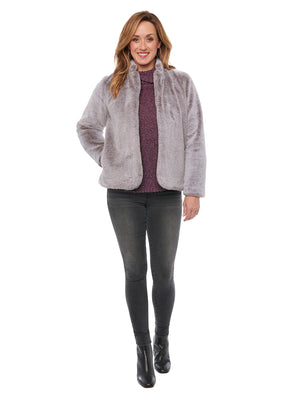 Frosted Lavender Faux Fur Stand Up Collar Jacket