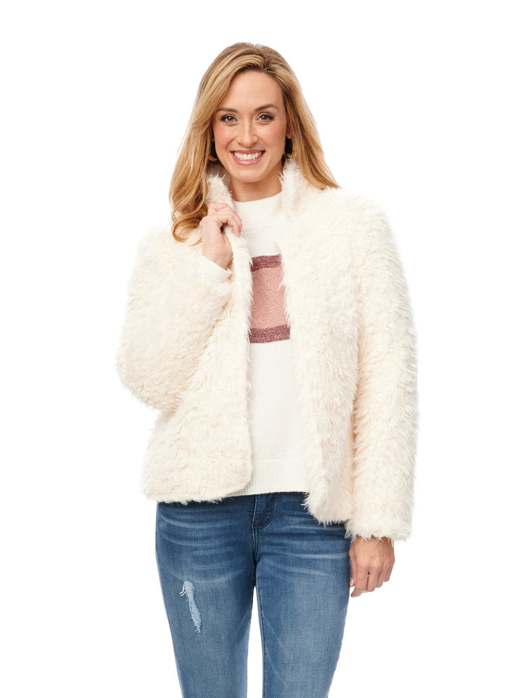 Faux Nubby Fur Jacket with Stand Up Collar