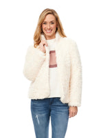 Long Sleeve Faux Nubby Fur Jacket with Stand Up Collar