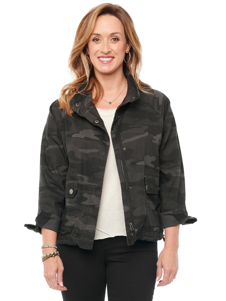 Camouflage Zip Up Flap Patch Pocket Jacket