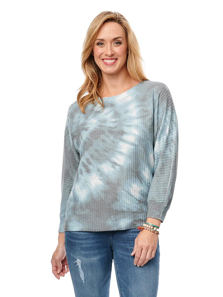 3/4 Dolman Sleeve Scoop Neck Tie Dye Top